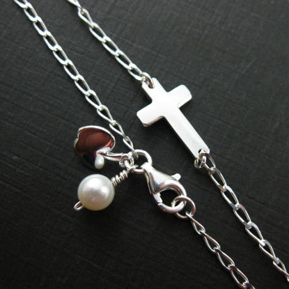 Sterling Silver Bracelet - Teacher's Gift - Cross and Apple - Freshwater Pearl