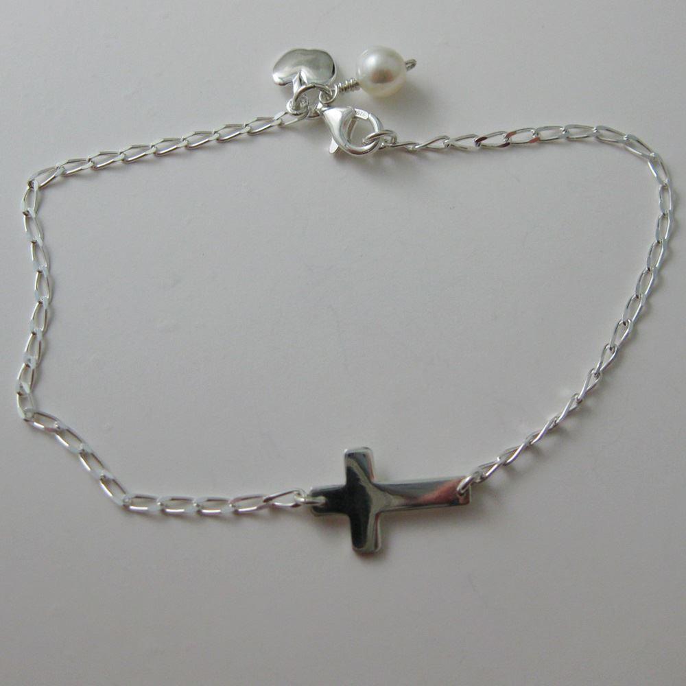 Sterling Silver Bracelet - Teacher's Gift - Cross and Apple - Freshwater Pearl