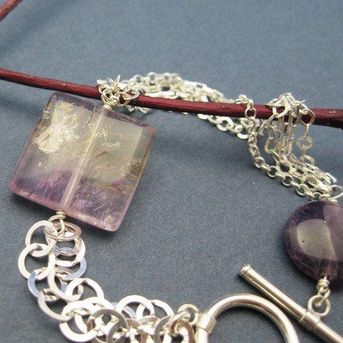 Sterling Silver Bracelet , Purple Amethyst Bracelet , February Birthstone