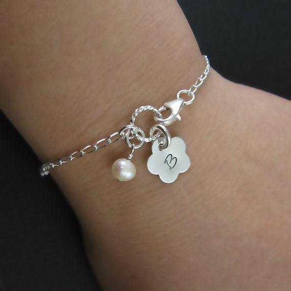 Sterling Silver Bracelet - Fresh Water Pearl and Initial Flower Charm Bracelet