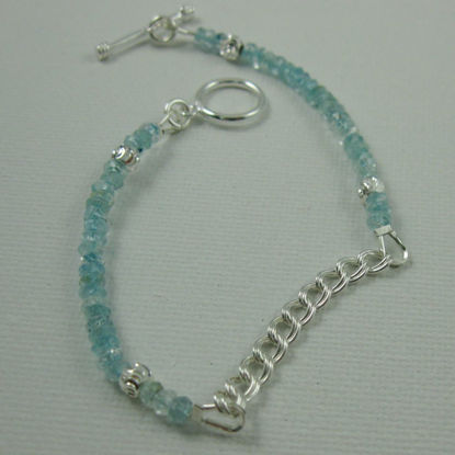 Fancy Sterling Silver Bracelet - Aquamarine Bracelet with Toggle - March Birthstone
