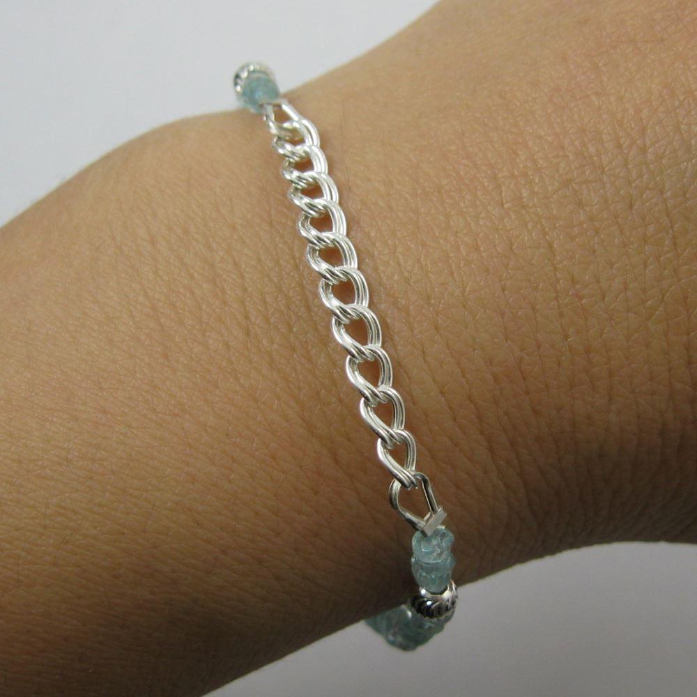 Fancy Sterling Silver Bracelet - Aquamarine Bracelet with Toggle - March Birthstone