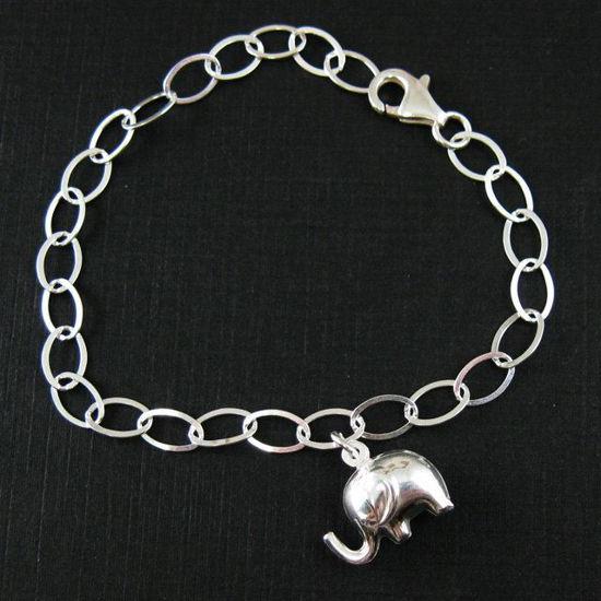 925 Sterling Silver Bracelet , Elephant Charm Bracelet , Lucky Elephant