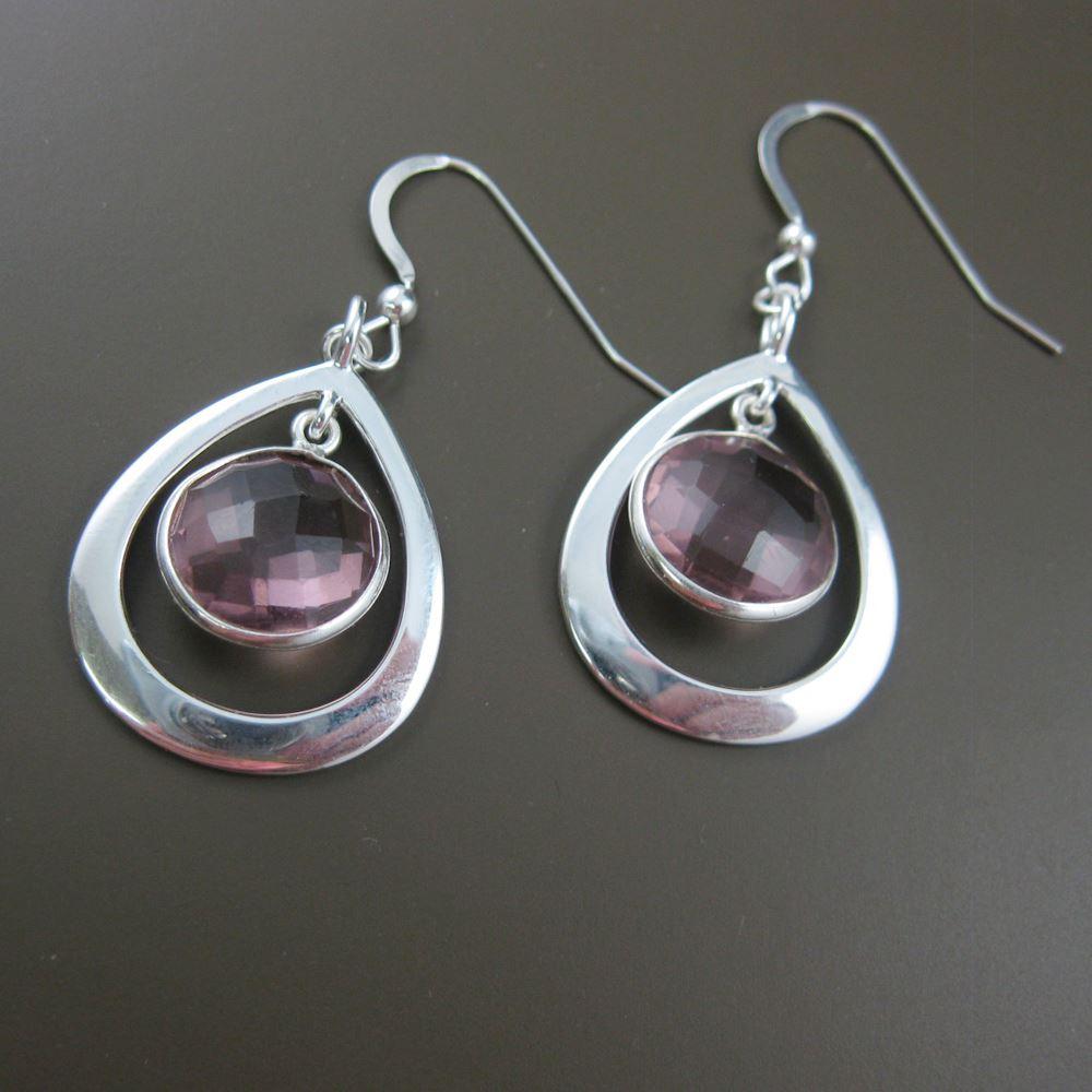 Sterling Silver Earrings , Pink Amethyst Earrings , Bezel Gemstone Earrings - February Birthstone
