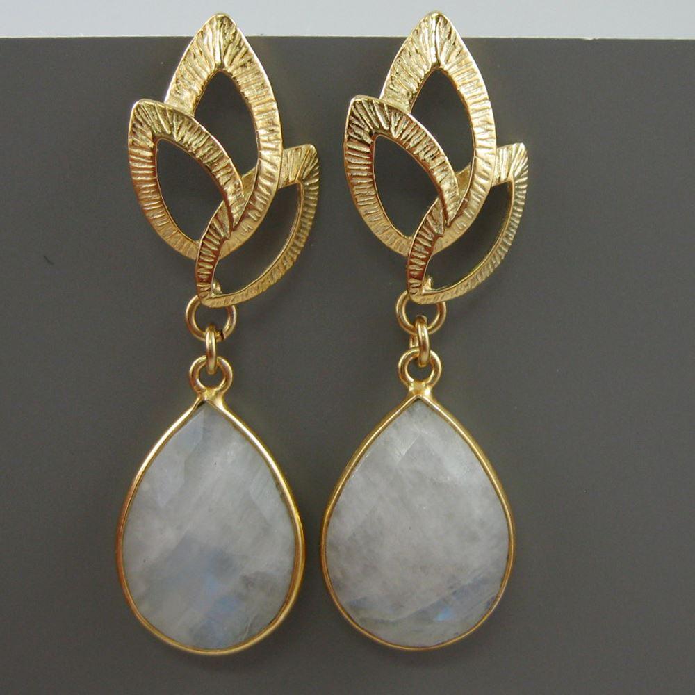Gold Earrings -Bezel Gemstone Earrings - Gold Plated Fancy Earrings-Rainbow Moonstone Earrings-June Birthstone