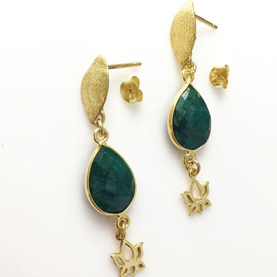 Lotus Flower and Bezel Gemstone Earrings - Gold Vermeil Earrings