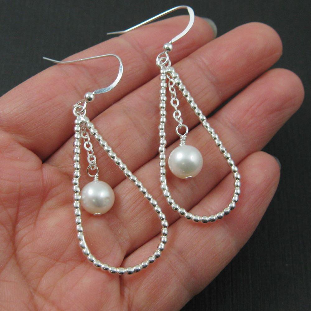 Sterling Silver Earrings - Dancing Pearl With Big Teardrop Hoop Earrings