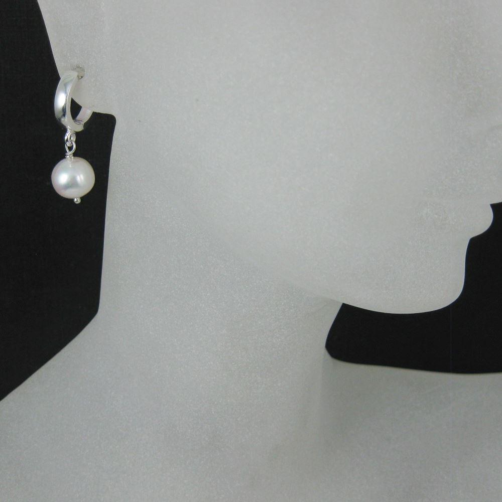 Sterling Silver Earrings - Single Pearl With Fancy Hoop Earrings