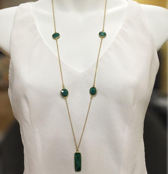 Bezel Gemstone Extra Long 5 Stone Necklace