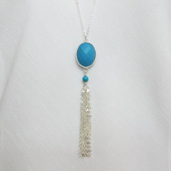 Sterling Silver Necklace - Long Necklace- Bezel Gemstone Pendant Necklace - Turquoise Pendant