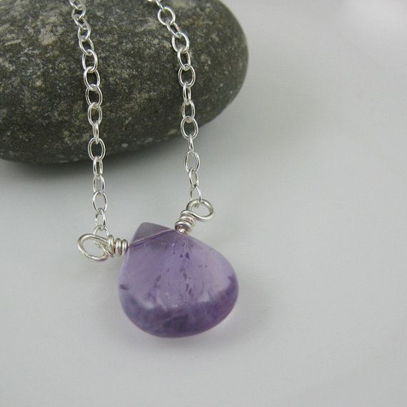 Sterling Silver Necklace , Purple Amethyst Necklace