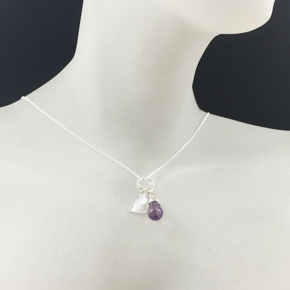 Sterling Silver Necklace , Purple Amethyst with Heart Necklace