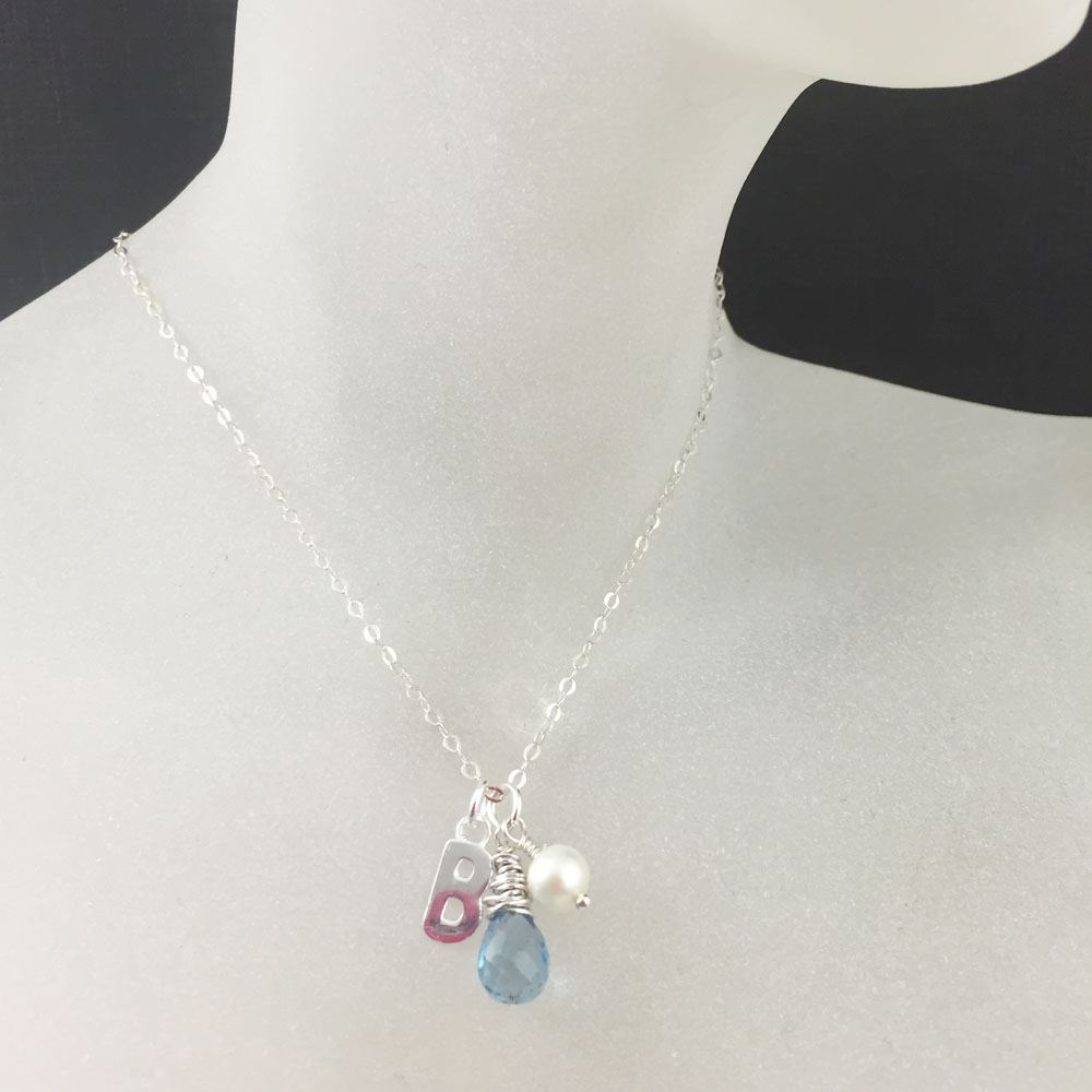 Sterling Silver Necklace, Gemstone Necklace ,Swiss Blue Topaz with Pearl and Initial Charm
