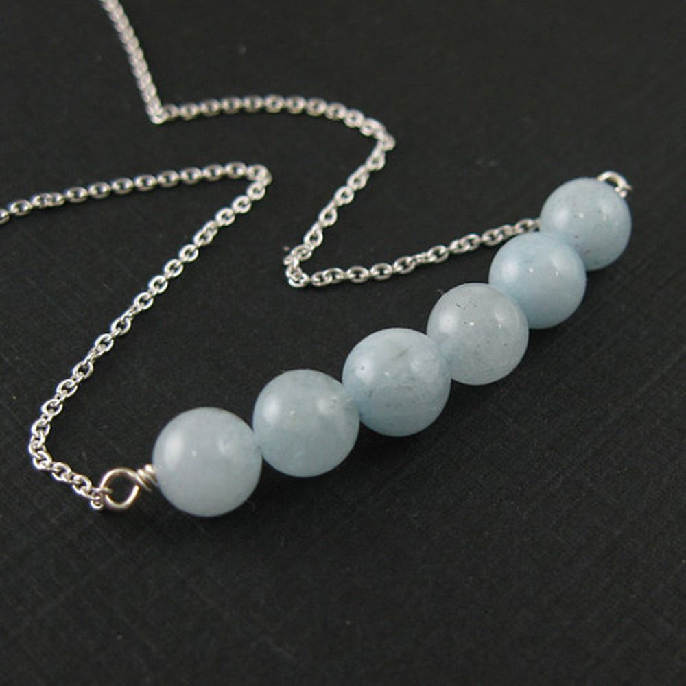 Sterling Silver Necklace - Row of Aquamarine