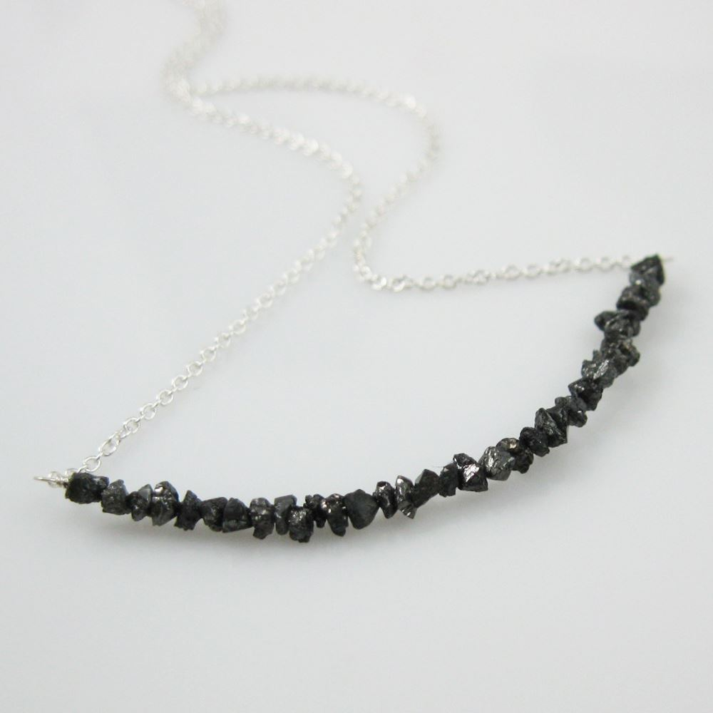 Row of Black Diamond Necklace - 925 Sterling Silver Necklace - Classic Simple Necklace