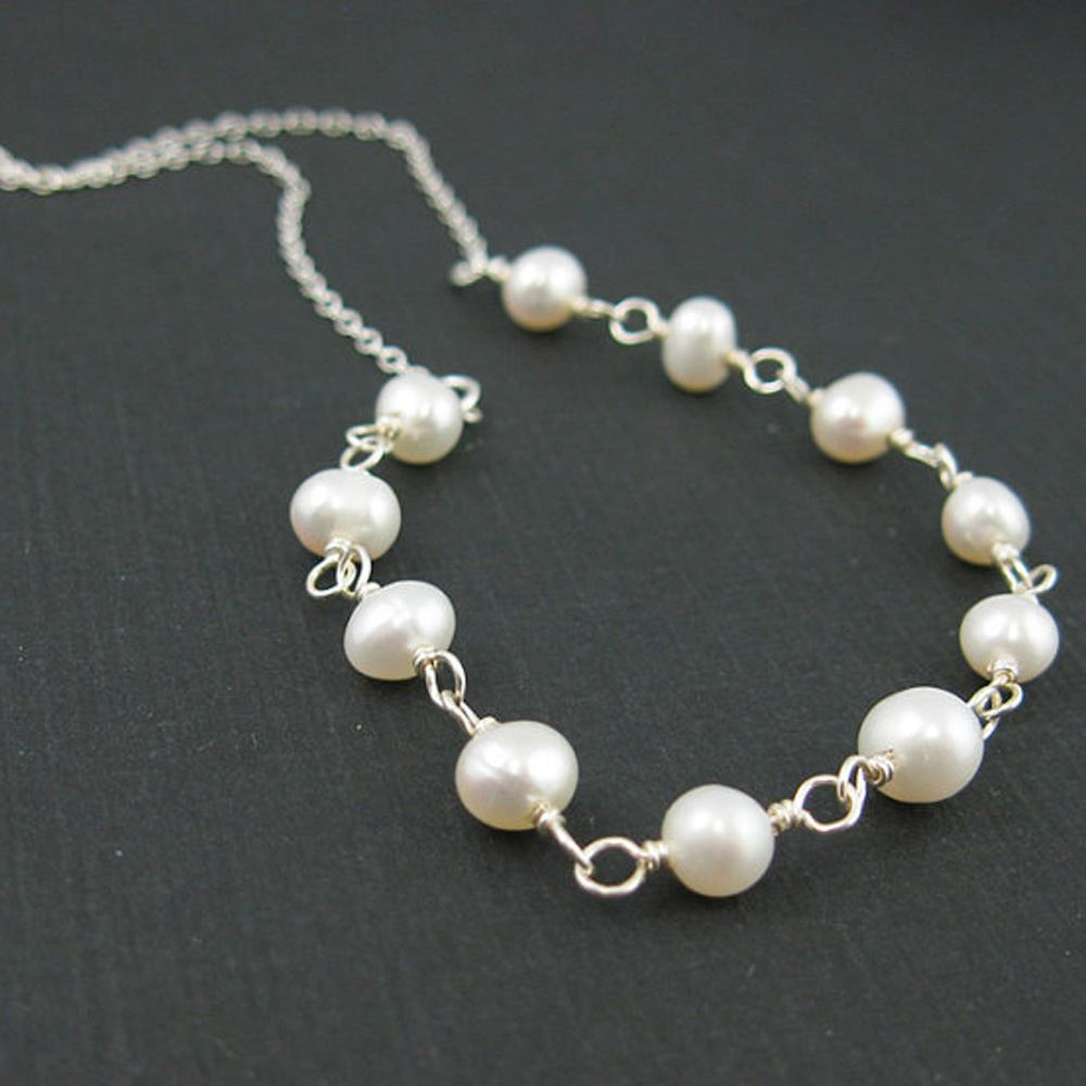 Sterling Silver Necklace - Fresh Water Pearl Necklace