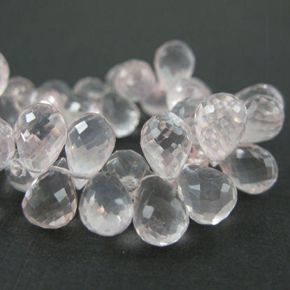 Semiprecious Gemstone Beads -Gemstone Bead Faceted Tear Drop Briolettes - Rose Quartz - 9mm ( 5 pcs )