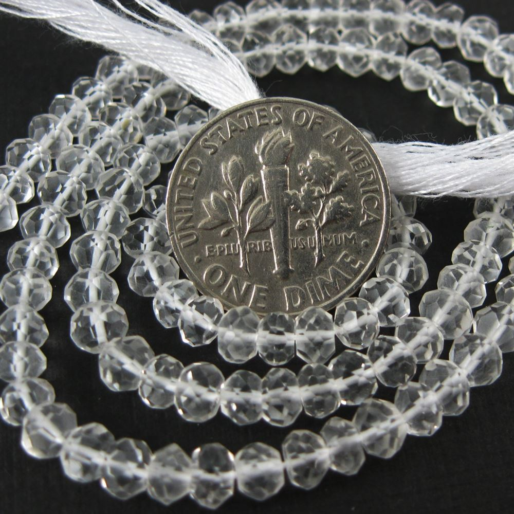 Gemstone beads - Crystal Quartz Faceted Rondelle - 3.5- 4mm - 13.5 inches full strand