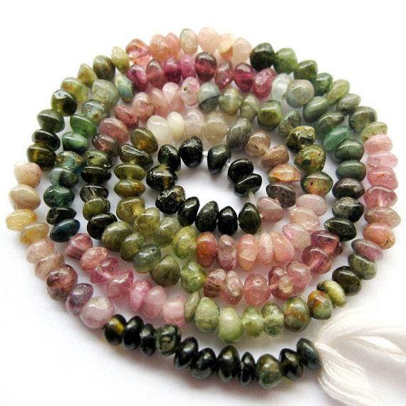 Tourmaline -Semi Precious Stone , Plain Button Beads - full strand - ( 3.5-4 mm) 15 inches