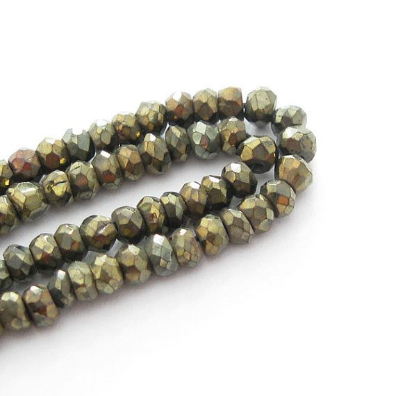 Mystic Black Spinal (Goldish) -Semi Precious Stone ,Machine cut Faceted Rondell Beads - partial strand -(4 mm) 4 Inch Strand