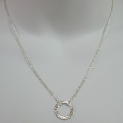 Sterling Silver Necklace - Textured Washer - Round Connector
