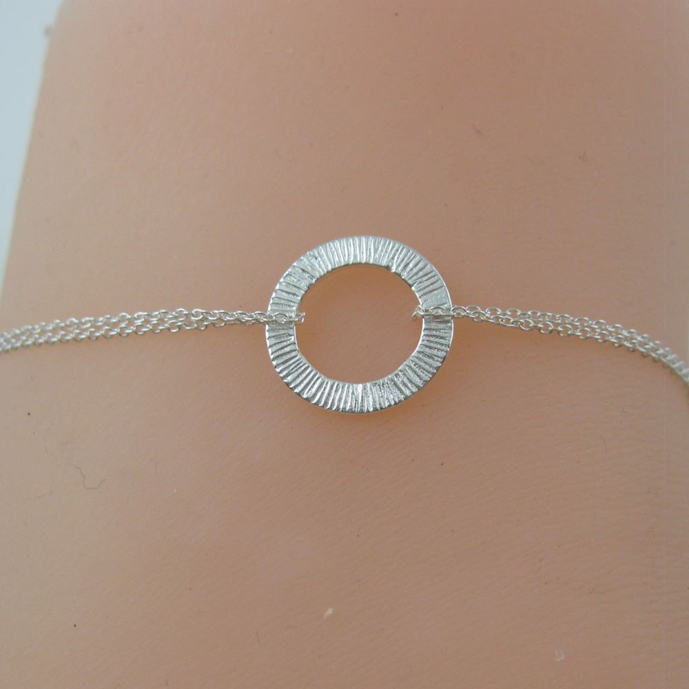 Sterling Silver Bracelet Textured Washer Round Connector
