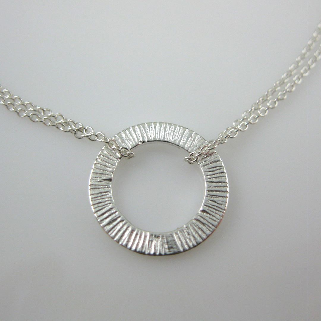Sterling Silver Bracelet - Textured Washer - Round Connector