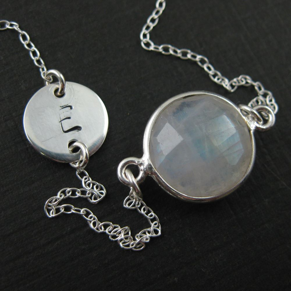 March Birthstone Interchangeable Charm Necklace Gray Moonstone Charm
