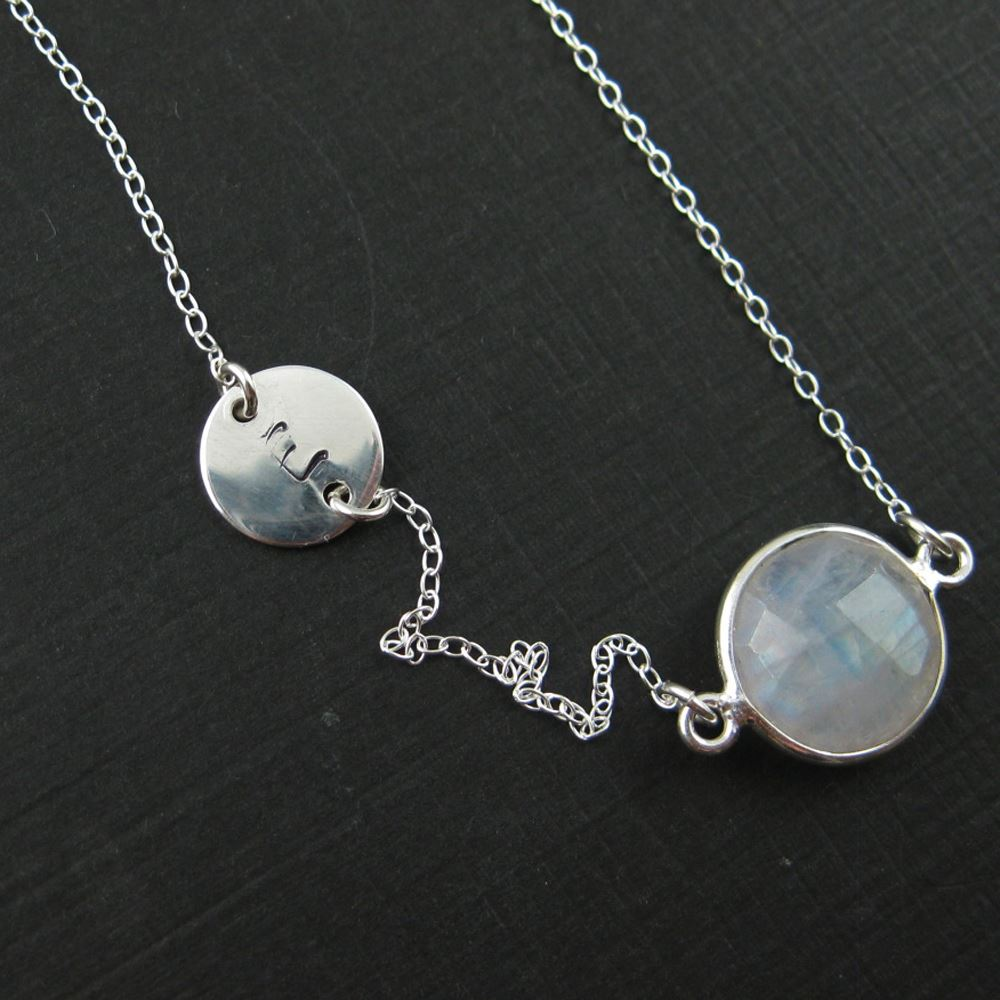 Sterling Silver Necklace - Moonstone Necklace with Initial Circle Charm - June Birthstone - Everyday Necklace -Bridal