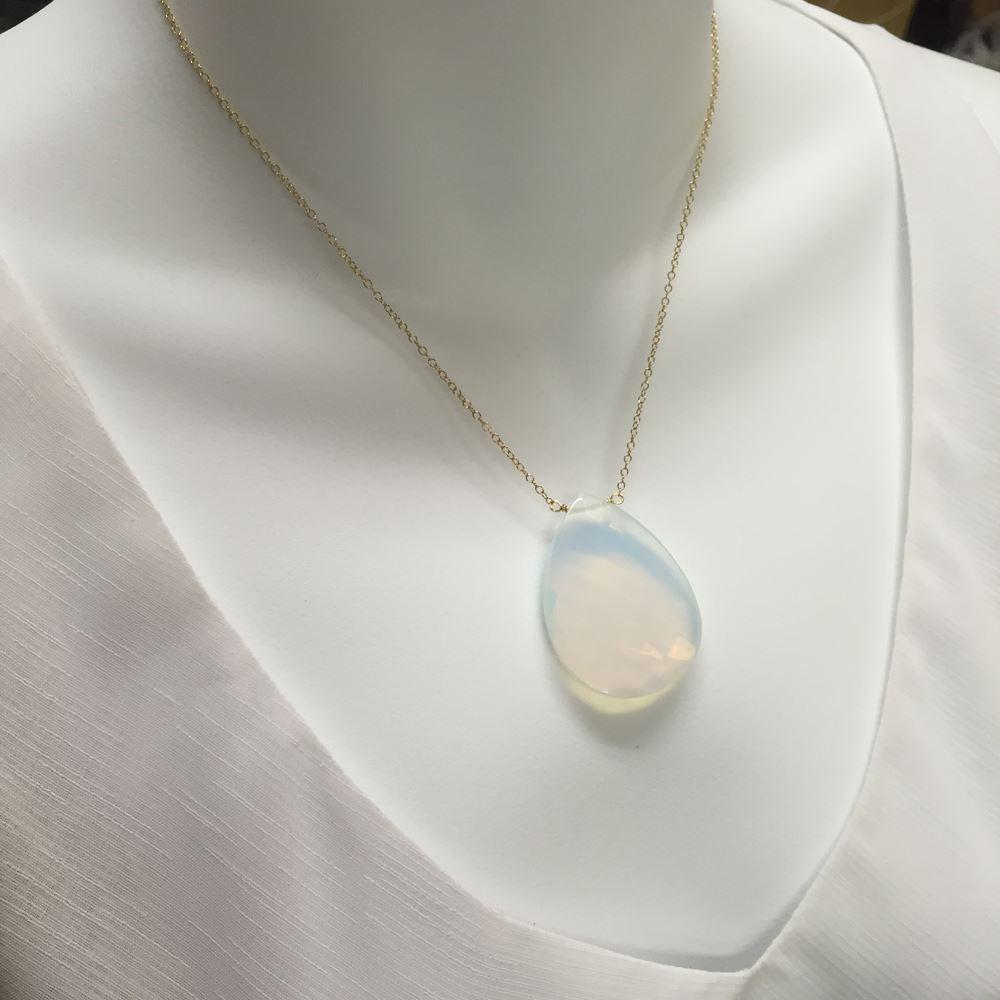 Monster in Law Necklace -Huge Oplite - Gold Plated over Sterling Silver Necklace-Celebrity Inspired