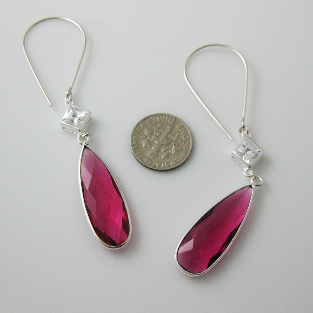 Sterling Silver Earrings - Long Teardrop Rubellite Quartz with CZ Stone