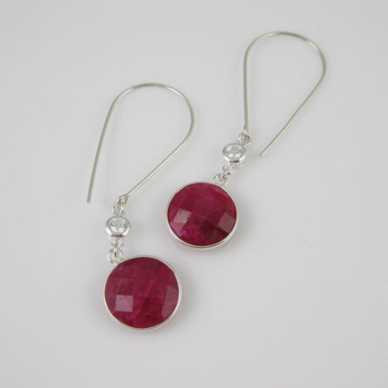 Sterling Silver Earrings - Round Ruby Dyed Dangle Earrings with CZ Stone