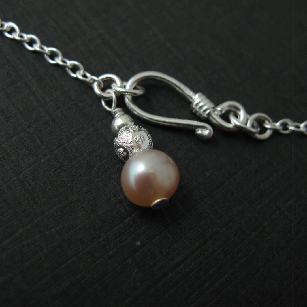 Sterling Silver Luck Bracelet - Pearl and Toggle Bracelet