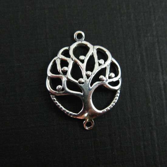 925 Sterling Silver Connector -Tree of Life Connector - 15mm