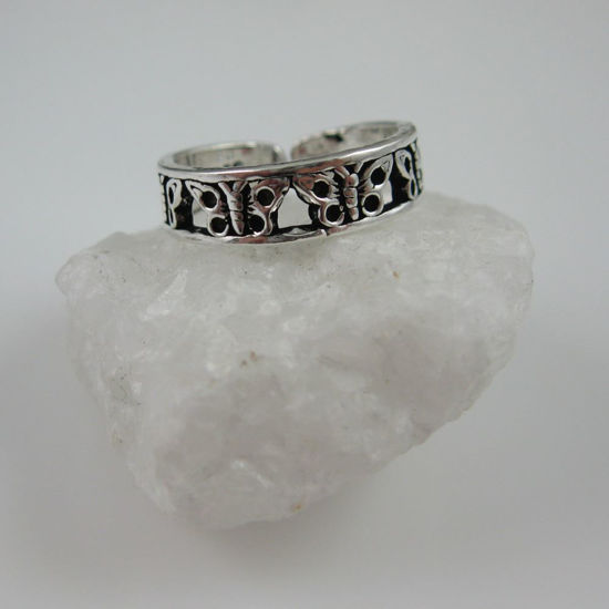 925 Sterling Silver Toe Ring - Butterfly Toe Ring - Adjustable Toe Ring