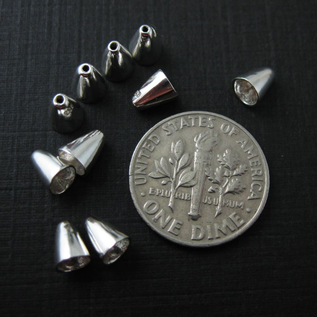 Solid 925 Sterling Silver Findings - Cone Bead Caps - sold per 10 pcs
