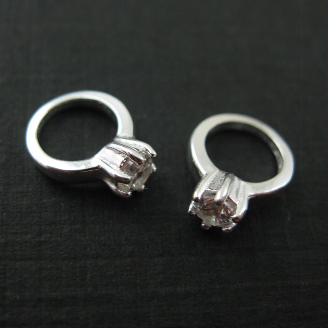 Sterling Silver Charms - Promise Ring Charm - Ring With CZ Stone - Sterling Silver Ring (2 pcs)
