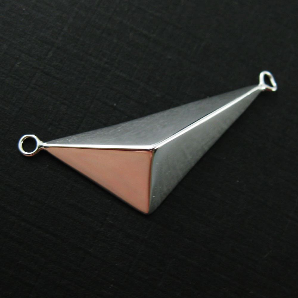 925 Sterling Silver Pyramid Charm-Geometric Charm-Triangle Pendant Connector - 35 by 12mm - Jewelry Findings - Sterling Silver Findings