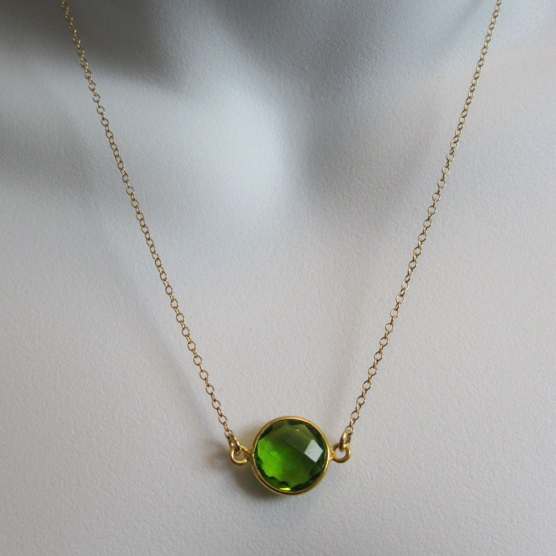 Birthstone Gemstone Necklace-Bezel Gemstone-Round Connector Necklace -Birthstone, Personalized Jewelry Gift-Gold Plated over Sterling Silver