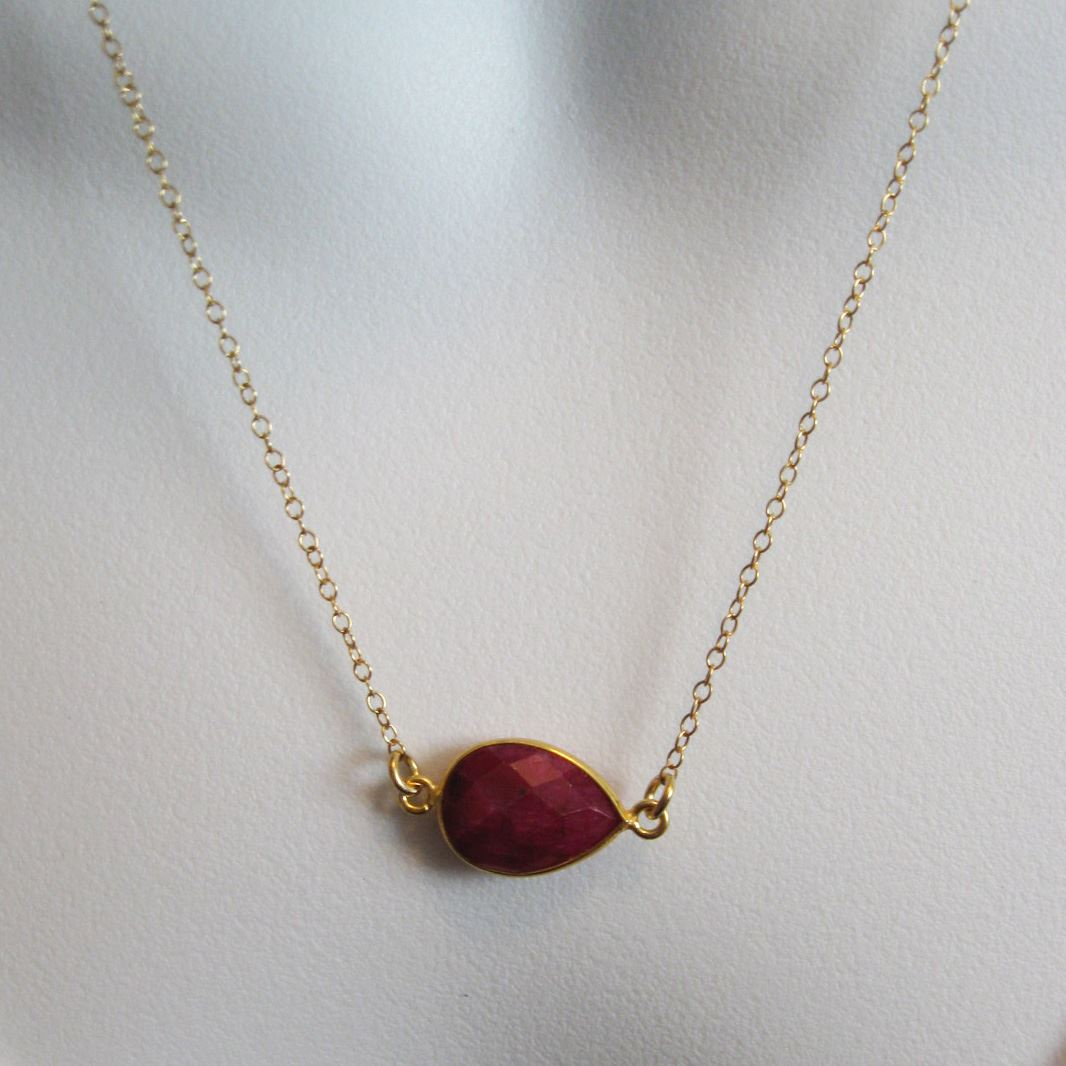 Birthstone Gemstone Necklace-Bezel Gemstone-Pear Connector Necklace -Birthstone, Personalized Jewelry Gift-Gold Plated over Sterling Silver