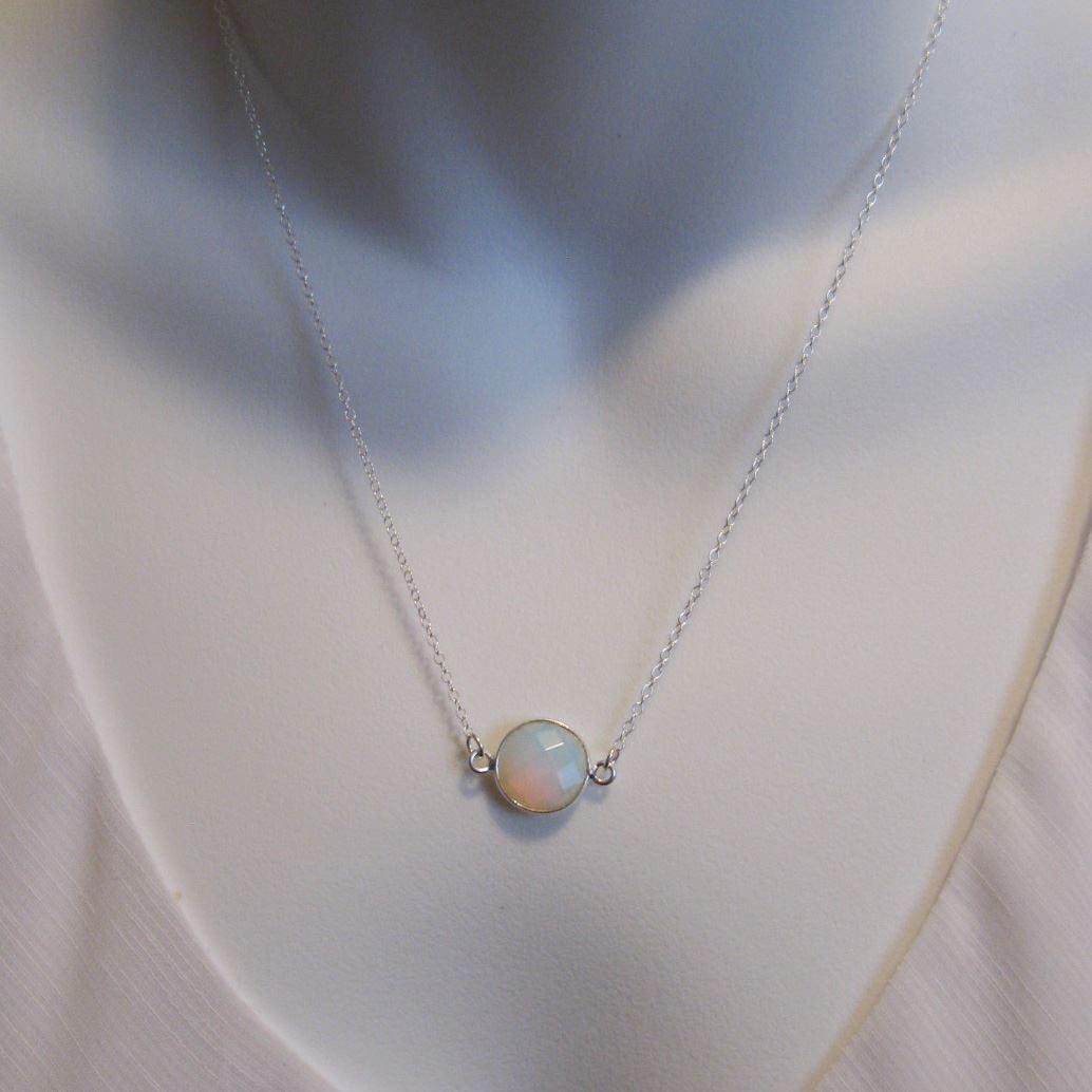 Birthstone Gemstone Necklace-Bezel Gemstone-Round Connector Necklace -Birthstone, Personalized Jewelry Gift - Sterling Silver
