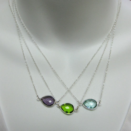 Birthstone Gemstone Necklace-Bezel Gemstone- Pear Connector Necklace -Birthstone, Personalized Jewelry Gift - Sterling Silver