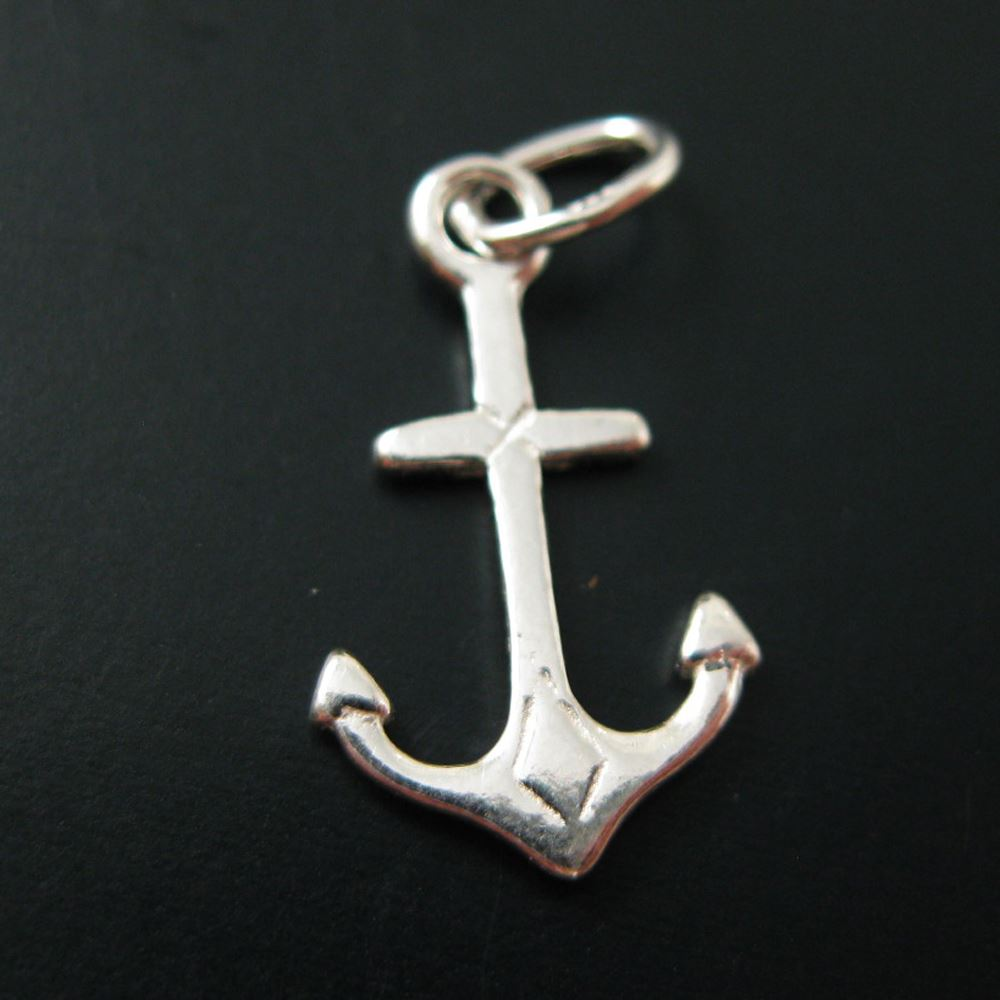 925 Sterling Silver Smooth Anchor Charms with Oval Ring - 11 by 9 mm (2 pcs)