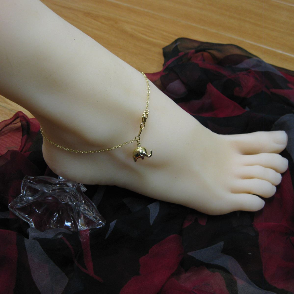 Gold Plated over Sterling Silver Anklet - Gold Elephant Charm