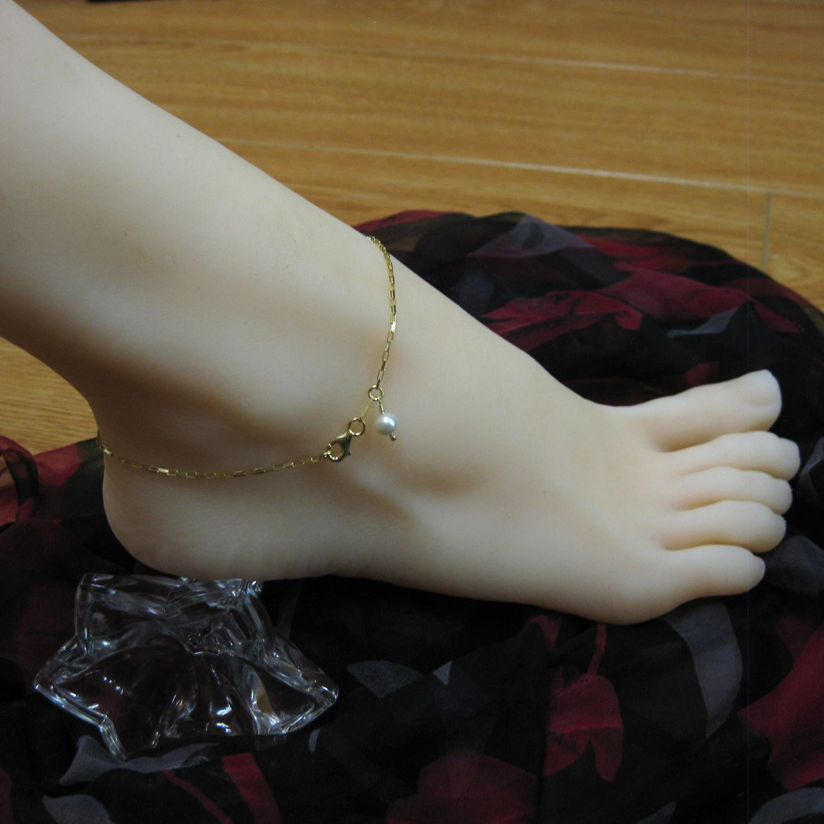 Gold Plated over Sterling Silver Anklet - Gold Plated Anklet with Freshwater Pearl