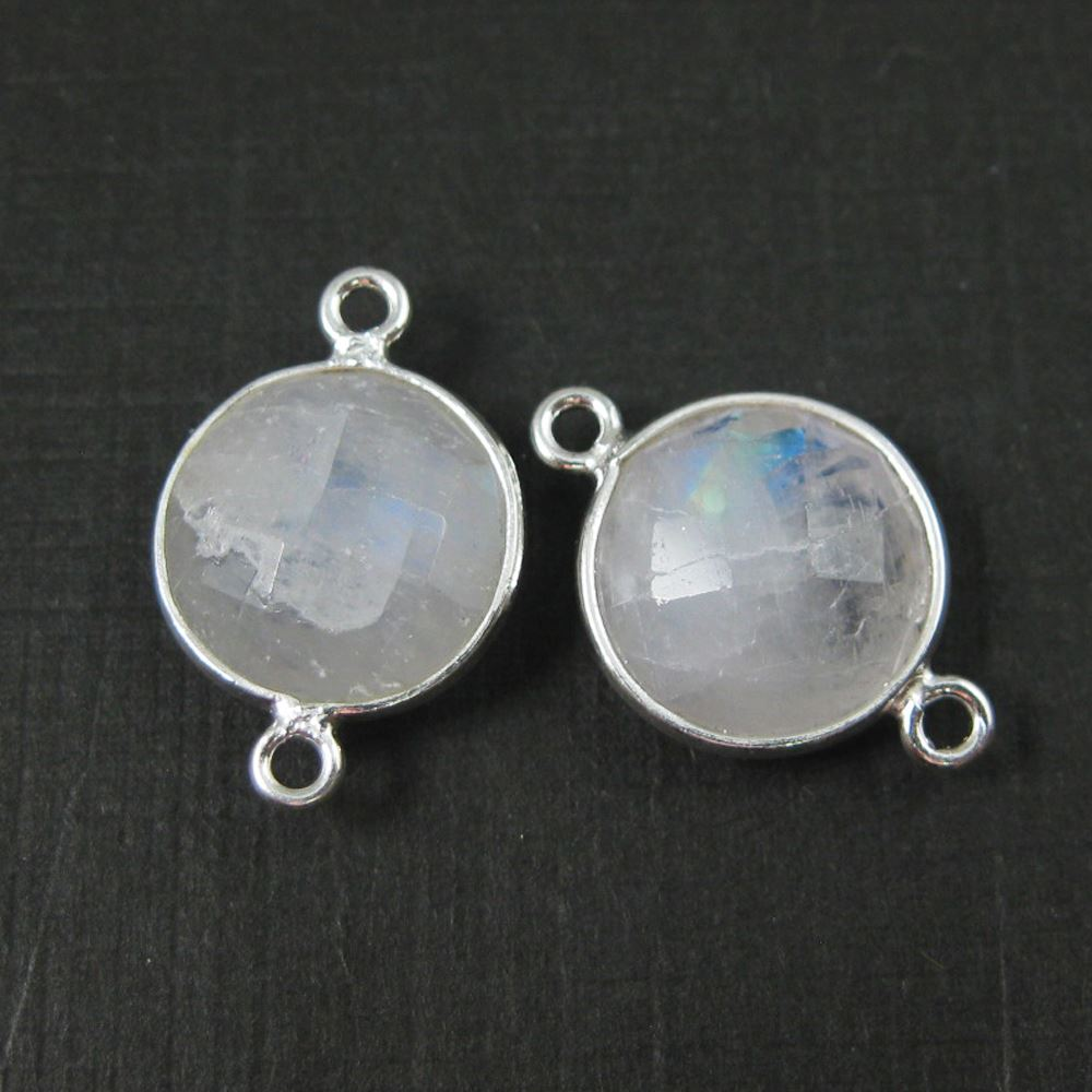 Birthstone Connector, Sterling Silver Bezel Gemstone,  Round Charm, Coin Connector (2 pcs)