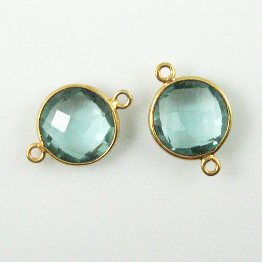 Birthstone Connector, Gold Plated Vermeil Sterling Silver Bezel Gemstone,  Round Charm, Coin Connector (2 pcs)