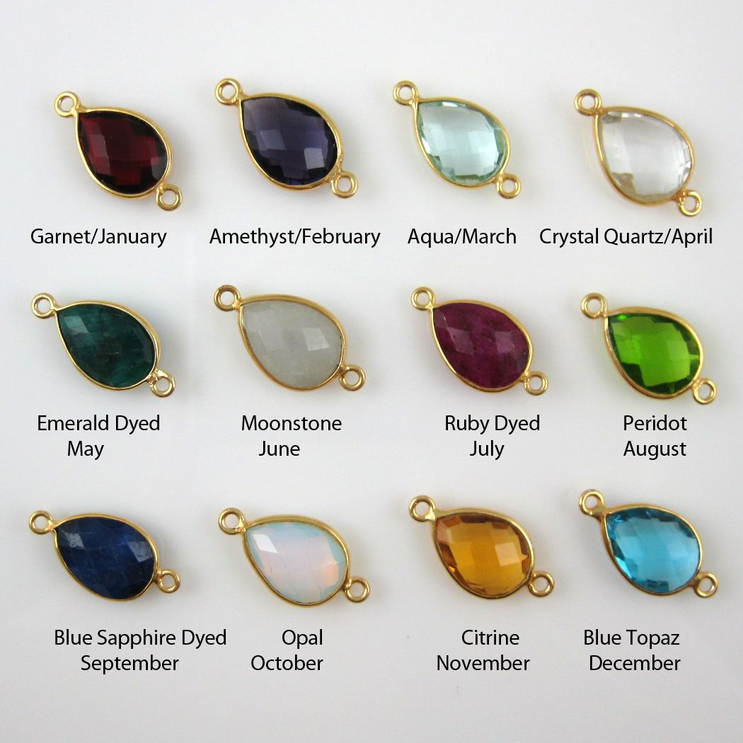 Birthstone Connector, Gold Plated Vermeil Sterling Silver Bezel Gemstone, Tear Charm Connector (2 pcs)