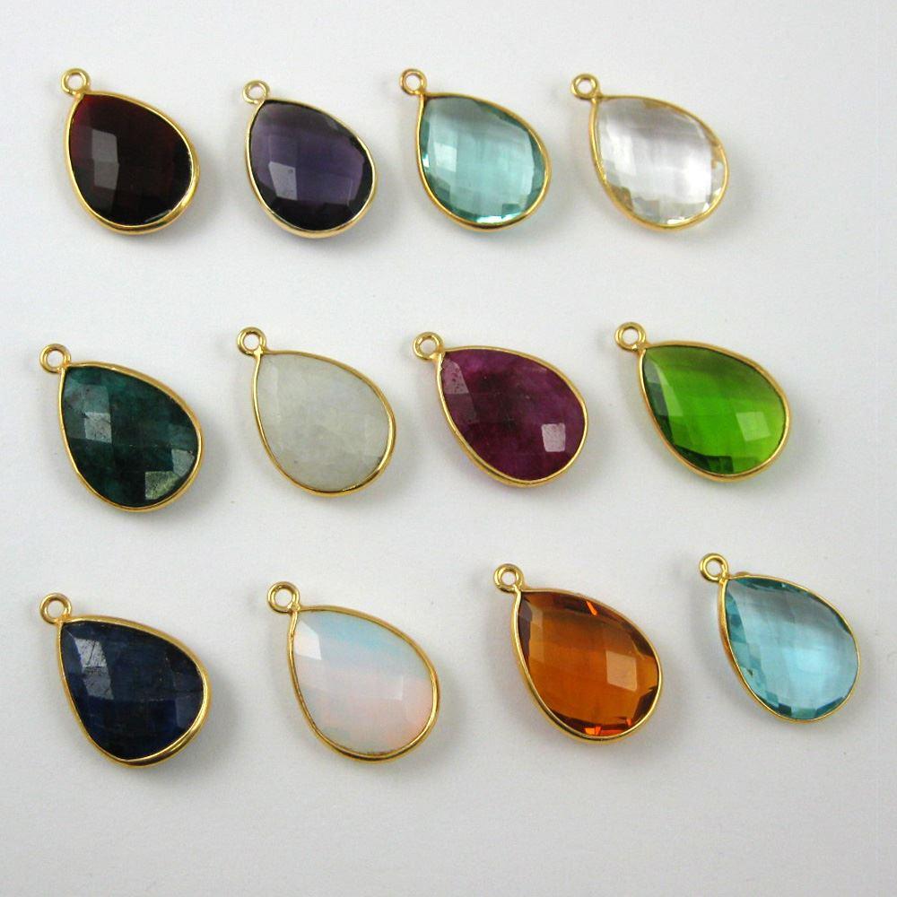Birthstone Charm Pendant, Gold Plated Vermeil Sterling Silver Bezel Gemstone, Teardrop Charm (2 pcs)