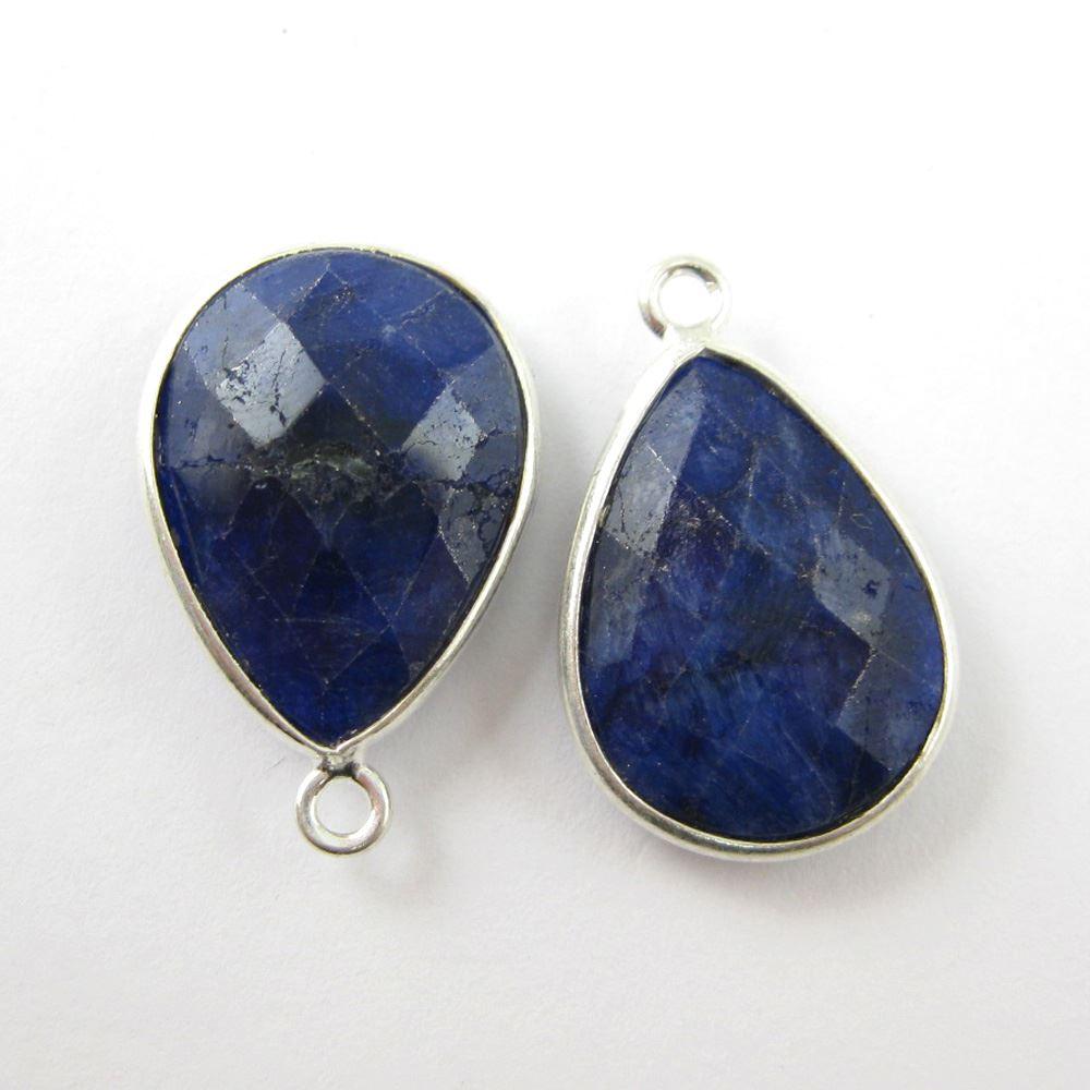 Birthstone Charm Pendant, Sterling Silver Bezel Gemstone, Teardrop Charm (2 pcs)